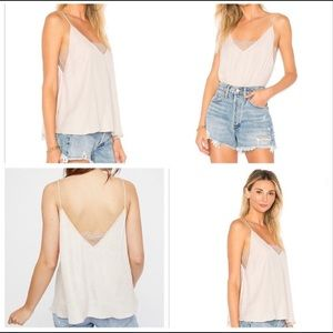 Free People silky camisole with lace, medium, NWT